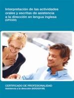 UF0330 - Interpretación de las actividades orales y escritas de asistencia a la dirección en lengua inglesa