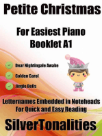 Petite Christmas Booklet A1 - For Beginner and Novice Pianists Dear Nightingale Golden Carol Jingle Bells Letter Names Embedded In Noteheads for Quick and Easy Reading