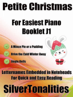 Petite Christmas Booklet J1 - For Beginner and Novice Pianists a Mince Pie or a Pudding Drive the Cold Winter Away Jingle Bells Letter Names Embedded In Noteheads for Quick and Easy Reading