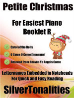Petite Christmas Booklet R - For Beginner and Novice Pianists Carol of the Bells O Come O Come Emmanuel Descend from Heaven Ye Angels Come Letter Names Embedded In Noteheads for Quick and Easy Reading