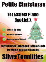 Petite Christmas Booklet X - For Beginner and Novice Pianists Carol of the Bells No Room In the Inn Somersetshire Wassail Letter Names Embedded In Noteheads for Quick and Easy Reading