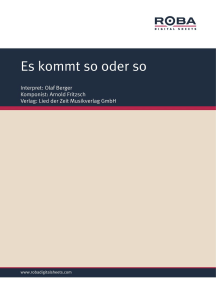 Es kommt so oder so: Single Songbook; as performed by Olaf Berger