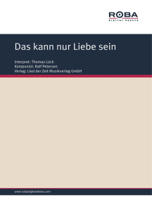Das kann nur Liebe sein: Single Songbook; as performed by Thomas Lück