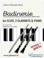 """""""Badinerie"""" for Flute, 2 Clarinets and Piano (score & parts): from Orchestral Suite No.2 in B minor, BWV 1067"""