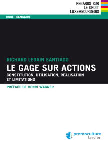 Le gage sur actions: Constitution, utilisation, réalisation et limitations