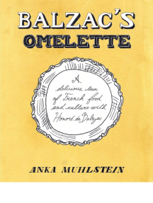 Balzac's Omelette by Anka Muhlstein - TOC, Chronology, Introduction, and Excerpt